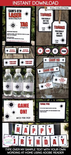 Type your own text into this Laser Tag printable collection that includes all the printables you need for a Laser Tag Party!    Instantly download