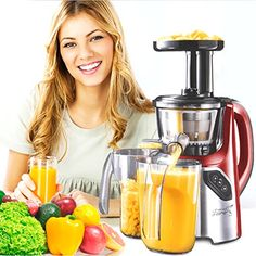 New Age Living SJC45 Masticating Slow Juicer  5 Year Warranty  Juice Fruits Vegetables Greens Wheat Grass  More  Make Pro Quality Healthy Juices At Home RED
