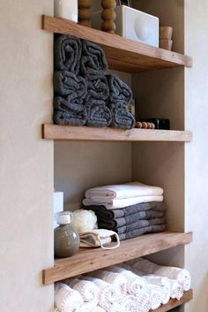 52 Simple But Modern Bathroom Storage Design Ideas. A bathroom storage cabinet is an essential and important piece of fixture in a bathroom. There is wide range of these cabinets . Bathroom Towel Storage, Toilet Storage, Bathroom Closet, Bathroom Towel Shelves, Master Bathroom, Wood Closet Shelves, Closet Storage, Wall Shelves, Wood Shelf