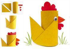 La poule de Pâques.  17 idées amusantes pour les enfants avec des rouleaux de papier toilette