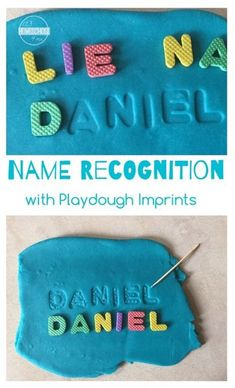 Name Recognition activity for toddler, preschool, and kindergarten age kids using playdough imprints (kids activities) Toddler Learning, Preschool Learning, Toddler Preschool, Toddler Activities, Learning Activities, Teaching Kids, Educational Activities, Activities For 3 Year Olds, Toddler Fun