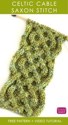 How to Knit the Celtic Cable Saxon Braid Stitch with Free Knitting Pattern Video Tutorial by Studio Knit StudioKnit knittingpattern cableknitting Knitting Stiches, Knitting Charts, Easy Knitting, Knitting Patterns Free, Knitting Yarn, Knit Patterns, Crochet Stitches, Stitch Patterns, Knit Crochet
