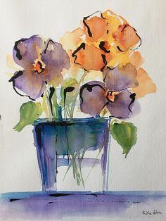ORIGINAL AQUARELL Aquarellmalerei Bild Unikat Blumenstrauß #watercolorarts