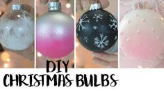Are you ready for Christmas this year? , Welcome Christmas by making Christmas Ornament, and this 40 DIY Christmas Ornaments Ideas Everyone Can Make White Christmas Ornaments, Dollar Tree Christmas, Christmas Bulbs, Christmas Crafts, Christmas Decorations, Rustic Christmas, Christmas Ideas, Christmas Scenery, Painted Ornaments