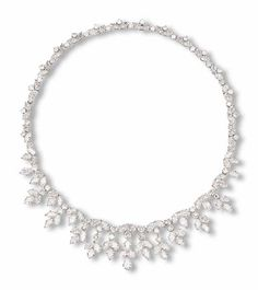 A DIAMOND NECKLACE, BY HARRY WINSTON    Designed as a line of marquise and brilliant-cut diamonds the front suspending a series of graduated vari-cut diamond foliate fringes, mounted in 18k white gold, 42.5 cm long    With maker's mark of Jacque Timey for Harry Winston