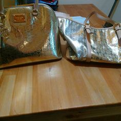 """Left is my Cindy bag i have used hard for over a year, arill in almost excellent condition. Tote on the right is from audrey_chi on poshmark.....listed as """"perfect condition""""....."""