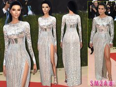 The Sims Resource: 170 – Kim Kardashian Met Gala'16 Dress by sims2fanbg • Sims 4 Downloads