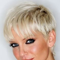 If you're tall and big-boned do not opt for a short, cropped cut. You'll look like a pinhead. If you are skinny, you can get away with this look.  Sarah Harding