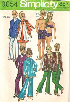 60s Vintage Doll Clothes Pattern /Simplicity 9054 by stumbleupon, $7.00