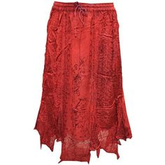 Mogul Women's Skirt Red Designer Embroidered Rayon Bohemian Skirt (1,885 INR) via Polyvore featuring red skirt, boho skirt, bohemian style skirts, viscose skirt and red knee length skirt