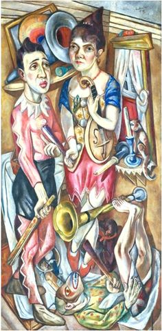 Painting by Max Beckmann (1884‑1950), 1920, Carnival Fastnacht, Tate. (Several of his works were included in the 1937 Degenerate Art show by the Nazis.)