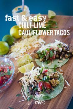Fast & Easy Chili Lime Cauliflower Tacos | boardsandknives.com #vegan