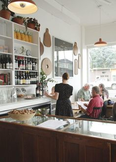 cabinets, charms, cafe style, clarks, breads, high ceilings, luce portland, open shelving, portland oregon
