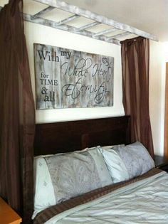 Ladder Top of a pallet and drapery Headboard idea is part of Primitive bedroom - Home Bedroom, Bedroom Decor, Basement Master Bedroom, Bedroom Ideas, Primitive Bedroom, My New Room, Home Projects, Pallet Projects, New Homes