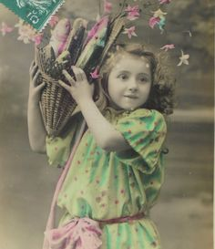 Vintage French Postcard - Young Girl with a Basket of Fish (Poisson D'Avril / April 1st) by ChicEtChoc on Etsy