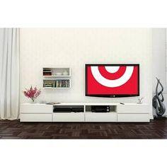 """Nexera BLVD 60"""" TV Stand with Flip Door - White"""