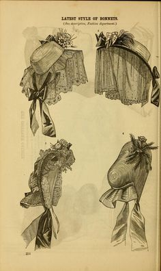 1863, Godey's. Straw hats with veils.