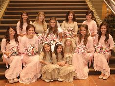 From People Magazine: Inside Bringing Up Bates Star Michaella Bates and Brandon Keilen's Country Wedding. Dresses are our Night in Paris in Blush and Dreaming in Vintage | Shop modest bridesmaid styles at www.daintyjewells.com