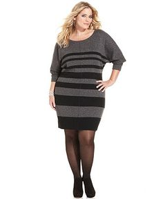 agb plus size dress, long-sleeve zigzag sweater dress - plus size