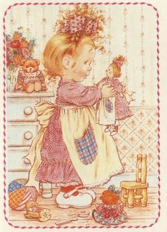 Sarah Key, Holly Hobbie, Cute Images, Cute Pictures, Baby Posters, Dibujos Cute, Cute Illustration, Vintage Cards, Cute Art