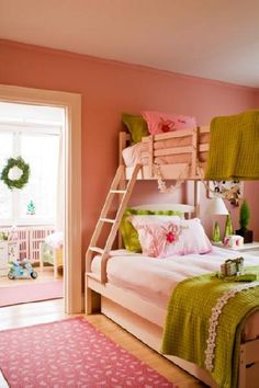girl's rooms - pink rug pink walls paint color green bedding pink pillows bunk beds pink green girl's room Connie Braemer - Adorable pink
