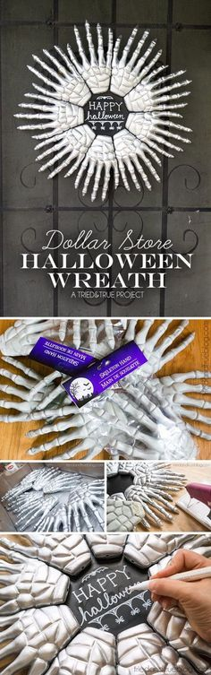 Dollar Store Halloween Wreath. #halloweendecorationideas