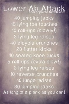 Lower ab workout.