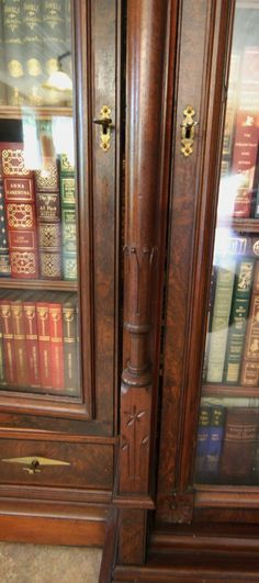Eastlake Burled Walnut 2 Door Drawer Bookcase Orig Brass Hardware Keys | eBay
