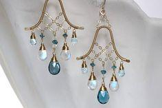 Gemstone Chandelier Earrings London Blue Topaz Handmade Wire