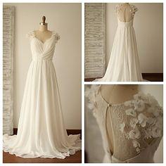 Vestido+de+Noiva+-+Marfim+Trapézio+Em+V+Cauda+Escova+Chifon+/+Renda+–+EUR+€+137.19