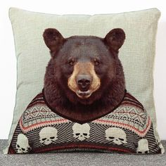 7.39$  Buy now - http://dik6y.justgood.pw/go.php?t=175554401 - High Quality Cartoon Mr. Bear Pattern Flax Pillow Case???Without Pillow Inner??? 7.39$