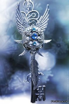 Ice Wind Key Necklace by *KeypersCove on deviantART Key Jewelry, Cute Jewelry, Jewelery, Jewelry Accessories, Kurt Tattoo, Elfen Fantasy, Magical Jewelry, Weapon Concept Art, Key To My Heart
