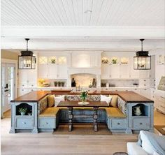 This is from Twist My Armoire's page on Facebook...don't care for the blue or spindle legs but countertops and cabinets built around a breakfast nook? WHAT A CONCEPT!!!!!!!!!!!!!!!!!!!