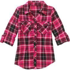 Derek Heart Girls' Plaid Flannel Shirt, Size: Small, Pink
