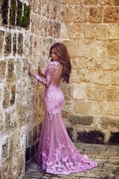 Ulass Lilac Long Sleeves Mermaid Prom Dresses Sheer Lace Backless Sexy Evening Gowns