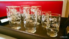 Mid Century Modern Flowered Glasses Bee Balm by LootByLouise #midcenturyglassware #beebalmglasses #libbeyglasses #floweredglasses #juiceglasses #waterglasses
