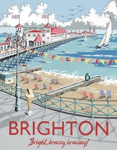 Brighton Pier - Vintage travel poster (England) one of my favourite places. Posters Uk, Retro Poster, Railway Posters, Poster Ads, Vintage Travel Posters, Retro Print, British Seaside, British Travel, Photo Vintage