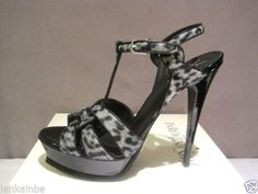 YSL Yves Saint Laurent Tribute 105 Pony Leopard Sandals Shoes 41.5 11.5 $1090