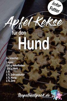 So schmeckt Deinem Hund auch Apfel. Diesen leckeren Keksen mit Erdnussbutter und Apfel kann kein Hund widerstehen. Schnelles Rezept für selbstgemachte Hundekekse. | Hund | Hundekekse | Hundefutter | Hunde DIY #hund #hundefutter # hundekekse #hundediy