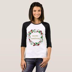Merry Christmas Holly Wreath T-Shirt - merry christmas diy xmas present gift idea family holidays