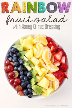 This Rainbow Fruit Salad with Honey Citrus Dressing is a great addition to breakfast or it makes a healthy snack idea any time! Easy to make ahead and enjoy all week! Citrus Recipes, Fruit Salad Recipes, Fruit Salads, Chopped Salads, Fruit Kabobs, Quinoa, Rainbow Fruit, Rainbow Salad, Healthy Snacks