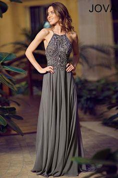 Charcoal Halter Neckline Beaded Chiffon Dress 92605