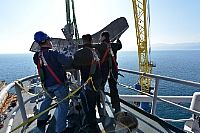 170313-N-GL340-121   RIJEKA, Croatia (March 13, 2017) Sailors assigned to the U.S. 6th Fleet command and control ship USS Mount Whitney (LCC 20) remove a communications antenna from the ship's mast at Viktor Lenac Shipyard in Rijeka, Croatia. The ship forward deployed to Gaeta, Italy, operating with a combined crew of U.S. Navy Sailors and military sealift command civil service mariners. (U.S. Navy photo by Mass Communication Specialist 2nd Class Michael Feddersen/Released)