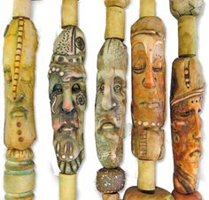 Maureen Carlson's collection of polymer totems. Found at http://polymerclaydaily.com.  More info www.weefolk.com