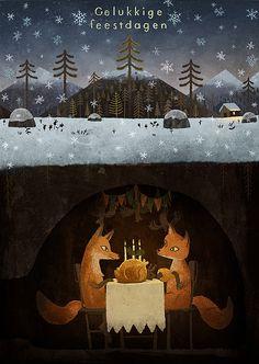 Winter foxes art print by Chuck Groenink [Animal - Fox - Snow - Illustration - Drawing] Fuchs Illustration, Children's Book Illustration, Winter Illustration, Christmas Illustration, Book Illustrations, Art Fox, Drawn Art, Fox Print, Inspiration Art