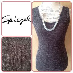 ✨Knit sleeves top✨NWOT✨ ✨Beautiful knit top with silver accents in the fabric. ✨ Could be a very stylish holiday wear. Fabric is soft ; 50% ramie, 40% rayon, and 10% polyester.✨Ask for a matching  cardigan! ✨New, never worn!✨ Spiegel Tops
