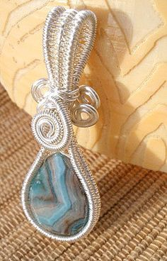 Wire wrapped blue Crazy lace agate gemstone teardrop by catinalife, $24.00