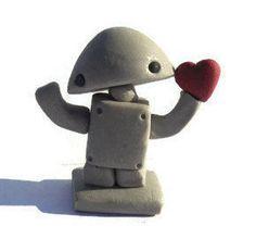 Robot love sculpture robot miniature mini by TrufflesAndTrinkets