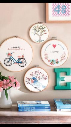Ideas For Embroidery Hoop Crafts Ideas Embroidery Hoop Crafts, Modern Embroidery, Hand Embroidery Patterns, Ribbon Embroidery, Cross Stitch Embroidery, Embroidery Letters, Embroidery Kits, Diy Ideas, Craft Ideas