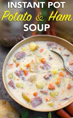 Instant Pot Potato Ham Soup is rich and creamy, using leftover ham and gold potatoes, this is a comfort soup full of flavor! Make this potato ham soup in your electric pressure cooker. simplyhappyfoodie.com #instantpotrecipes #instantpotsoup #instantpotpotatosoup #instapotsoup
